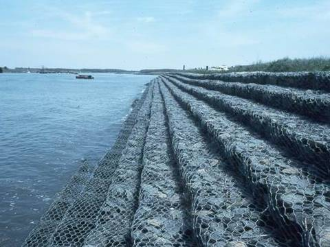 Gabion mattress protecting shore soil erosion