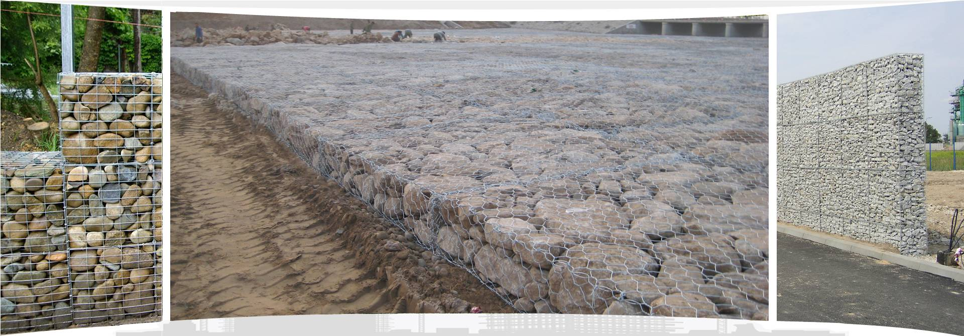 Three galvanized welded gabions on the grassland.