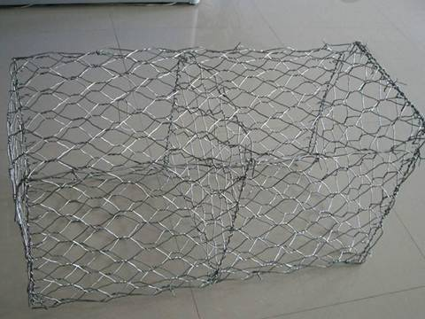 A twisted gabion basket from galfan wire